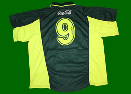 Away jersey with Coca-Cola sponsor, match worn by a Sporting U21