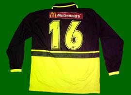 juniores do Sporting 2001/02. Camisola alternativa de jogo com publicidade em encarnado à Coca-Cola e McDonalds