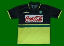 1999/2000, juniores do Sporting. Camisola alternativa de jogo com publicidade em encarnado à Coca-Cola