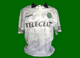 Away white football shirt, match worn Nene Champions League model 97/98