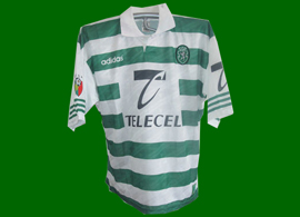 Match worn Sporting Lisbon jersey Leandro probably in the friendly against Porto 30 July 1998