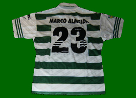 Sporting Lisbon 1997 1998 Home top, worn in a League game by Marco Almeida