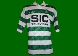 matchworn soccer jersey Sporting Pedro Barbosa lion 95 96 SIC Adidas
