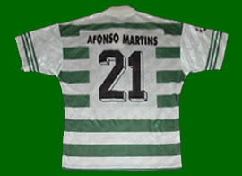 equipamento de jogo Sporting 1997 1998 Afonso Martins Liga dos Campeões