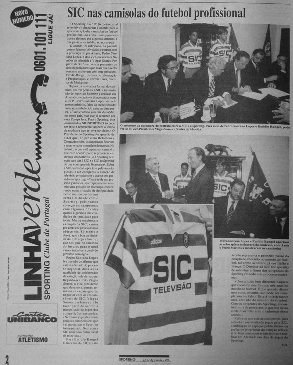 Santana Lopes e Emídio rangel assinam contrato de patrocínio da SIC aos equipamentos do Sporting em 1995