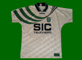 Equipamento branco do Sporting Sá Pinto de jogo 95 96 porta 10A