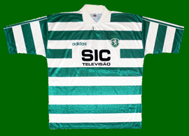 Matchworn Sporting Lisbon top, model worn in the Portugal Cup and in the Cup Winners Cup SIC Adidas