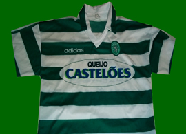 1994/1995 Sporting Lisbon Adidas green white hooped jersey