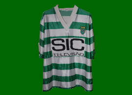 SCP 1995 96 Sporting Lisbon fake football shirt, sponsor SIC Television with funny lettering