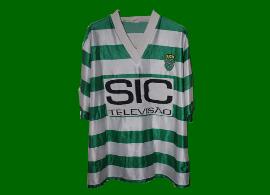 SCP 1995 96 Camisola do Sporting contrafeita com patrocinador SIC