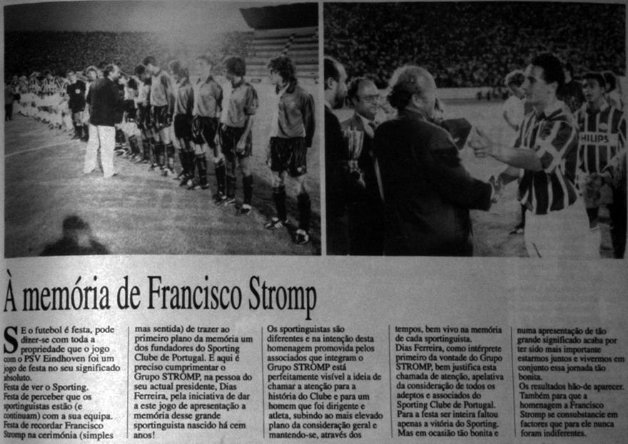 jogo de apresentação aos sócios e homenagem a Francisco Stromp, 1 de Agosto de 1992