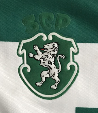 1995/96. Camisola Adidas do Sporting. Este modelo foi usado em dois jogos da Taça das Taças e em quatro da Taça de Portugal