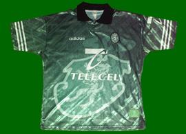 camisola alternativa verde Sporting 1997/98, réplica com patrocínio Telecel em branco