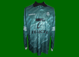 equipamento match worn alternativo verde Sporting 1996 1997 Oceano