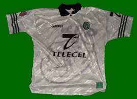 camisola branca de jogo do Sporting 1997 1998 Simão Sabrosa