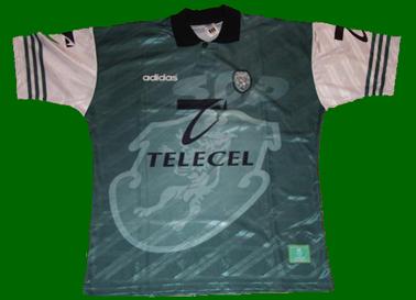 equipamento Sporting 1996 1997 alternativo verde com mangas brancas