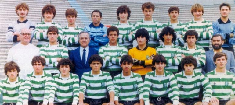 Juniores do Sporting 1982/83: camisola Adidas amarela com emblema