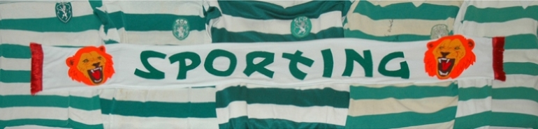 Althamer and Grabowska scarf with oldschool match worn Sporting Clube de Portugal shirts