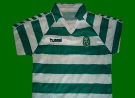 Sporting Lisbon 1987/90 Hummel green white hooped replica shirt