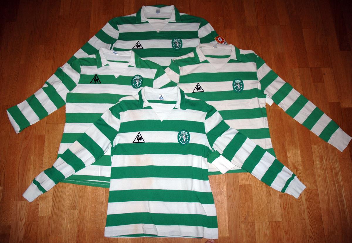 Quatro camisolas Le Coq Sportif do Sporting de algodão, usadas em jogo
