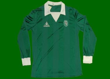 Sporting green 1984/85. Away longsleeved match worn Coq Sportif shirt, pre-season