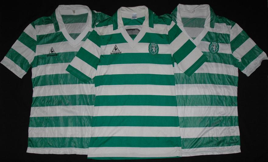 Três camisolas de jogo Le Coq Sportif do Sporting comparadas