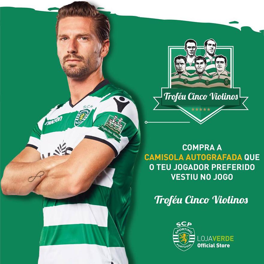 anúncio no Facebook do Sporting da venda de camisolas troféu 5 Violinos 2017