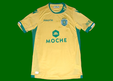 Sporting Lisbon 2014 2015 away jersey in yellow, made by Macron. Italian design