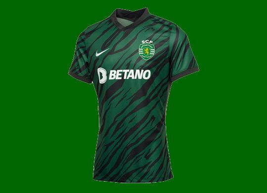 2021/22. Terceira camisola alternativa do Sporting da Nike, em camuflado verde/preto
