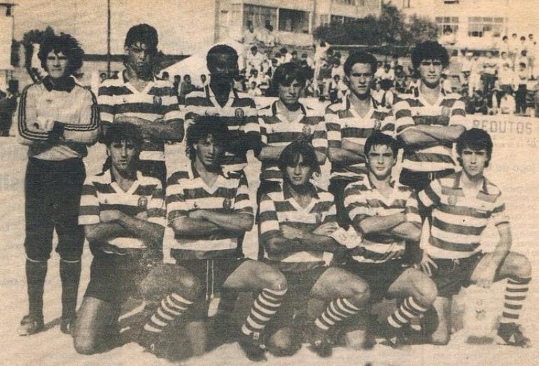 Juniores do Sporting 1986/87: camisola amarela com emblema Adidas