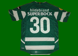 Fake Timo Hildebrand Sporting Lisbon shirt. Timo was a goalkeeper and this is a home field player jersey