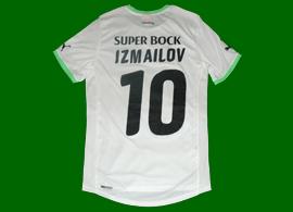 Sporting 2011/12. Equipamento de jogo alternativo branco do Izmailov