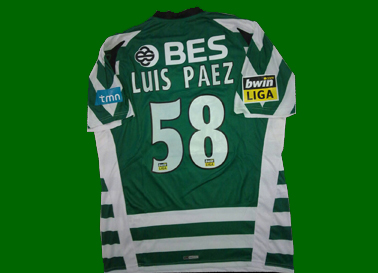 Camisola do júnior Paez, equipa principal do Sporting