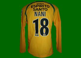 2006/2007. Equipamento oficial alternativo amarelo do Nani, campeonato nacional