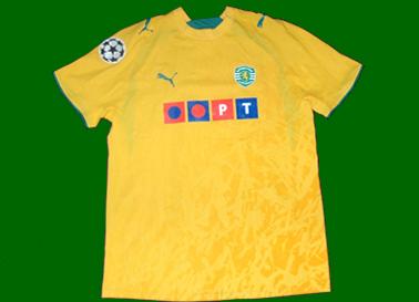 2006/07. Away Anderson Polga Sporting Lisbon Champions League match worn yellow shirt