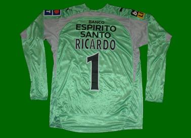 equipamento de jogo de Ricardo guarda-redes do Sporting