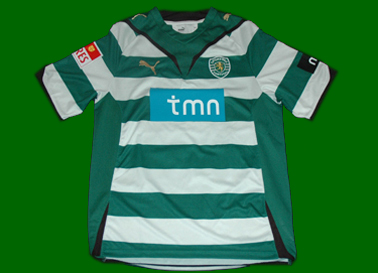 2009/2010. Camisola listada do Sporting de jogo do Sinama Pongolle