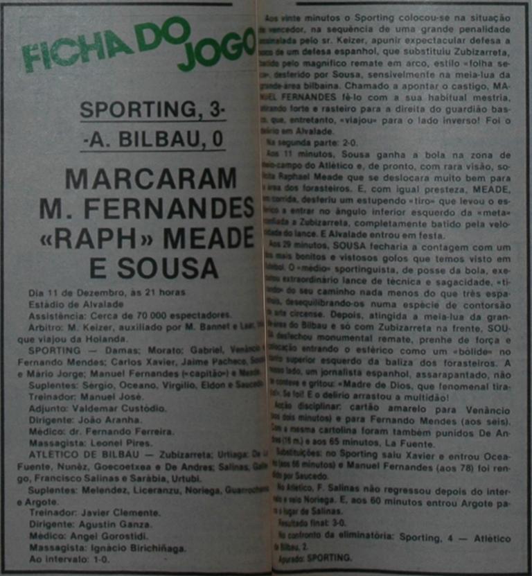 Sporting-Atlético de Bilbao 11 December 1985 - match report