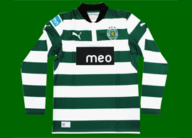 New Sporting Lisbon home jersey 2012/13, long sleeves with meo sponsor in black