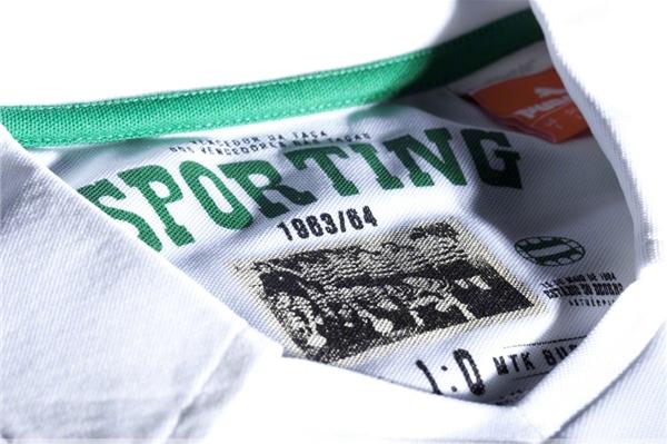 a gola da nova camisola do Sporting: homenagem à Taça das Taças