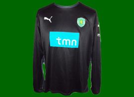 Sporting Lisbon black goal keeper football shirt, replica 2009 2010