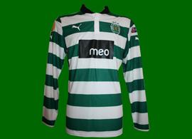 Hooped longsleeved player issue jersey, prepared for Daniel Carriço 2012/13
