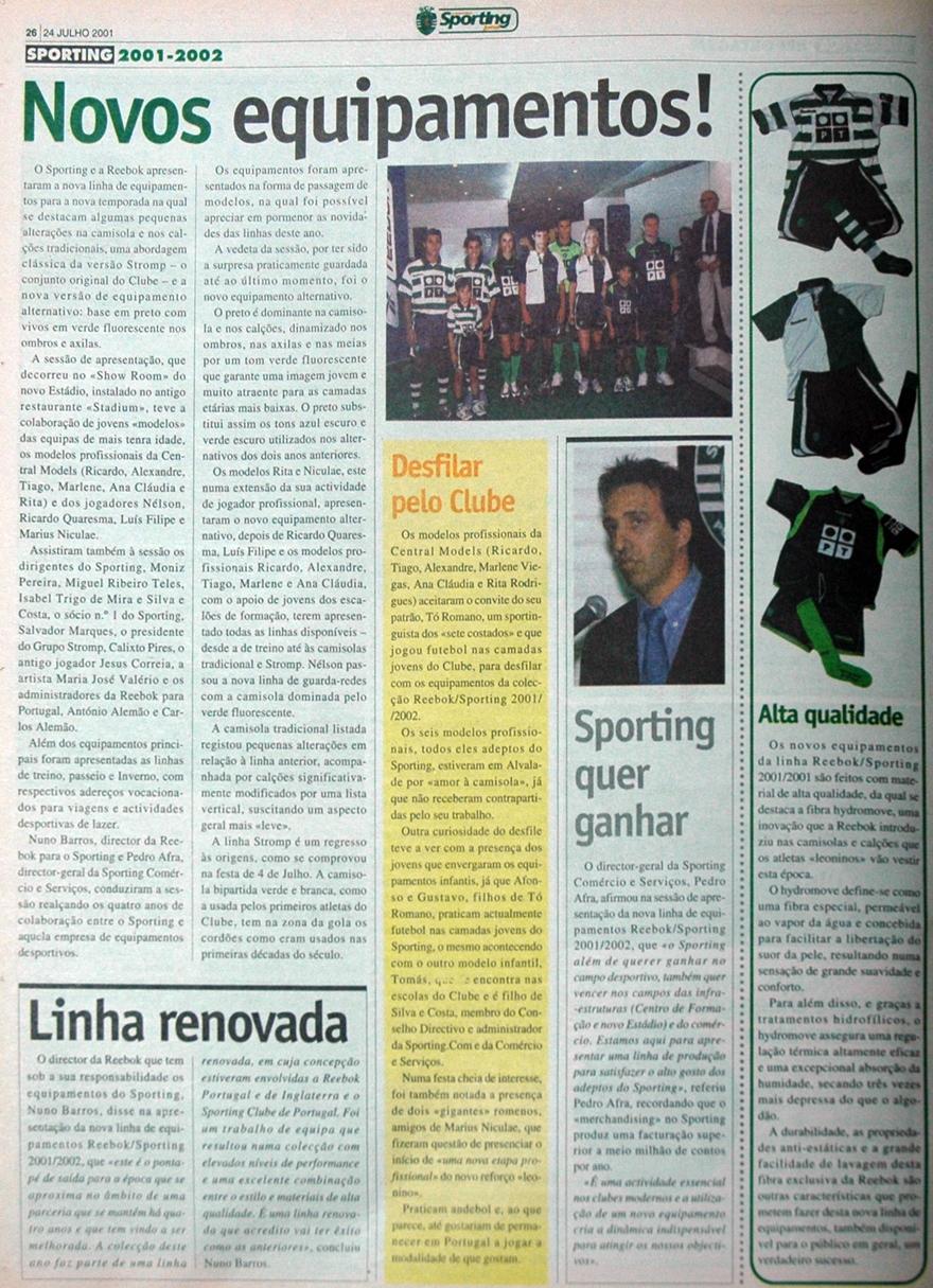 Apresentação dos equipamentos do Sporting para 2001/02