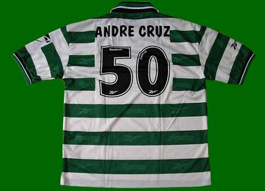 1999/2000. Camisola de futebol, réplica da Loja Verde personalizada André Cruz