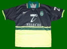Camisola alternativa do Sporting azul e amarela 1998 99