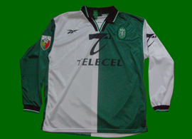 camisa do Sporting Lisboa Portugal Patacas Stromp 1998/99