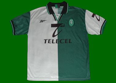1998/99. Split green/white Stromp replica football jersey