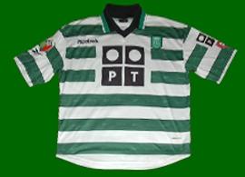 camisola listada de jogo do Bino do Sporting 2000 2001 Reebok