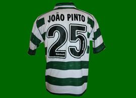 camisola listada de jogo de futebol do João Pinto, Sporting 2001/02