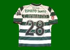 Hooped replica jersey Sporting Lisbon Cristiano Ronaldo 2002 2003
